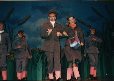 """We're off, on a Wild Goose Chase!"" sing Dot (Alison Mouton), Greylag (Paul Robere) and the Wild Goose Squadron."