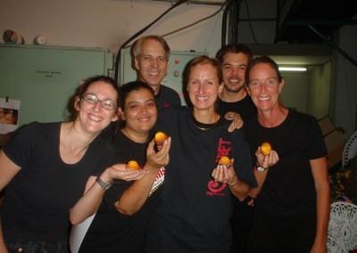 """Muffins!"" Say the backstage crew: Sarah Barnfield, Anna Khendry, Alan Fieldus, Kathy Clegg, Lloyd Balme and Trini Faulkne"
