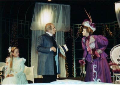 Lady Bracknell (Angela Mitchell) has words with Canon Chasuble (Roderick Turner)