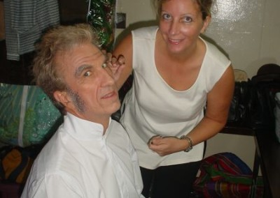 Jane Prichard puts the finishing touches on Barry Daniel's transformation makeup from Lane to Merriman