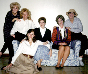 The Cast in a PR shot: Norah Grant as Annelle, Betsy Angle as Truvy, Lynn Hoke as Shelby, Bonnie Zellerbach as M'Lynn, Penny Loome as Miss Clairee,Claire Gurley as Ouiser