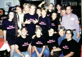 Cast & Crew at the cast party. Back: Julie L'Argent, Caroline Marks, Betsy Angle, Penny Loome, Julianne Davis Albert, Claire Gurley, Norah Grant, Sunday Ross, Cindy Chow, Mary Walsh Myers, Michel Than Front: Patrick L'Argent, Bonnie Zellerbach, Kristin Yeriazarian, Margot Weinmann, Cornelia Addicks
