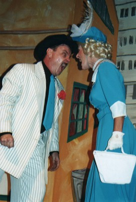 "Patrick L'Argent (Nathan) and Bonnie Zellerbach (Adelaide) during the scream in ""Sue Me"""
