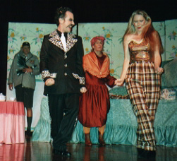 """Together"" sing the Cat (Michael Popkin) and Queenie (Louise Truslow) while Lowbutt (Bonnie Zellerbach) and Ugly (Elliott Cady) look on"