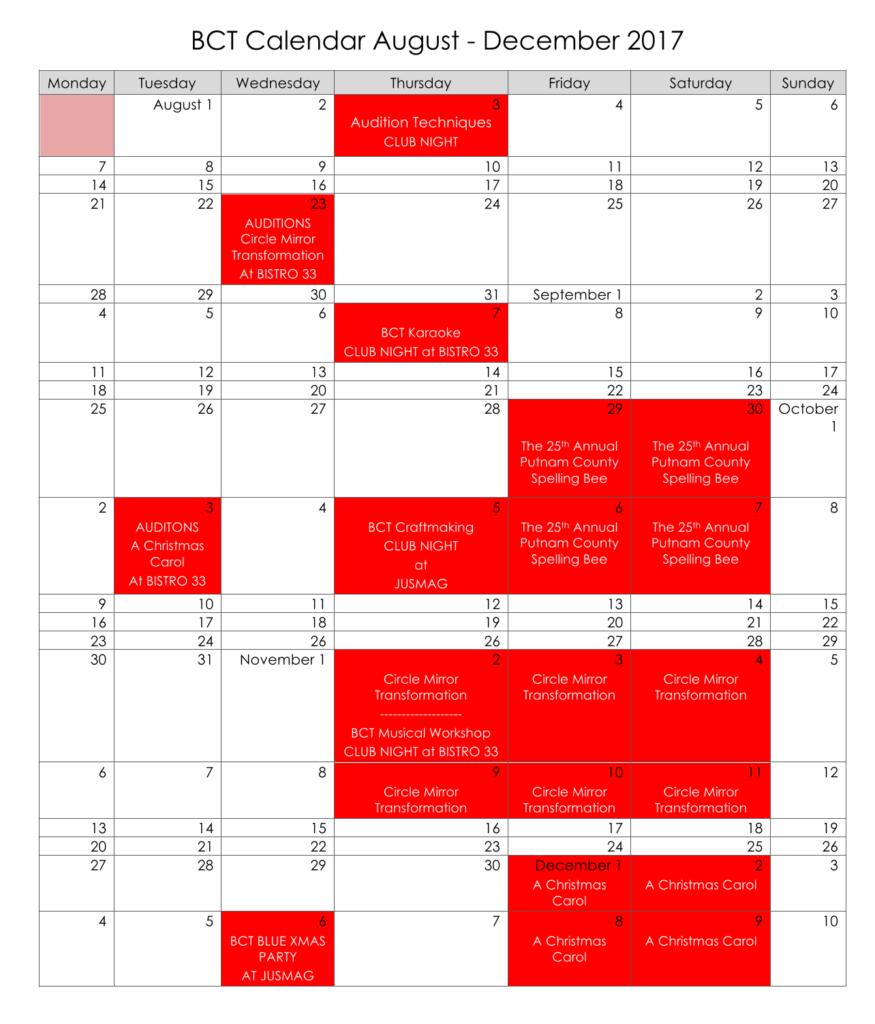 BCT Calendar 2017